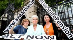 Orla O'Connor of the National Women's Council, Marie O'Toole of the Irish Countywomen's Association and Lorraine Fitzsimons of Age Action urging support for our petition for a fair State Pension.