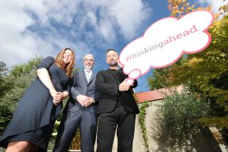 Christine King of Castle Homecare, Justin Moran of Age Action and Brendan Courtney launching 'Thinking Ahead'