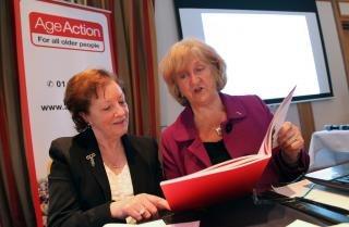 Age Action member Patricia Cawley with the report's author Maureen Bassett