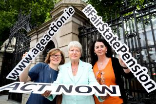 Orla O'Connor of the National Women's Council of Ireland, Marie O'Toole of the Irish Countrywomen's Association and Lorraine Fitzsimons of Age Action supporting the campaign for a fair State Pension.