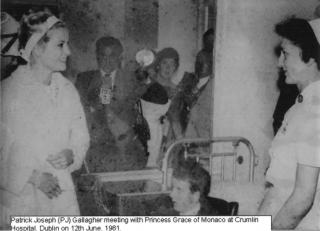 A young PJ Gallagher meeting Princess Grace of Monaco